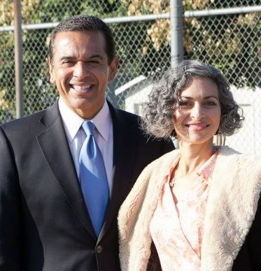 Mayor Villariagosa and I at the ribbon cutting for the Carver Community Garden. October 31, 2010