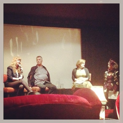Marian Goodell, Larry Harvey,  Jennifer Riser and I doing a presentation at the SOHO House about Burning Man. April 2014.